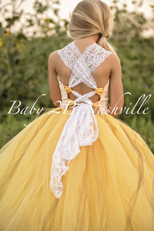 4e8ae195e Sunflower Dress Yellow Dress Flower Girl Dress Lace Dress Summer ...