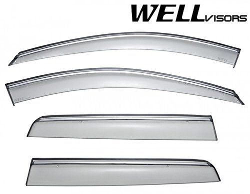 Wellvisors Side Rain Guard Window Visors Deflectors With Chrome Trim For 03 14 Volvo Xc90 2003 2004 2005 2006 2007 2008 2009 2010 2011 Volvo Xc90 Chrome Volvo