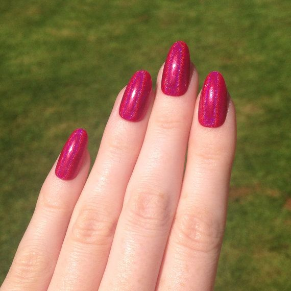ultra holographic bright pink oval