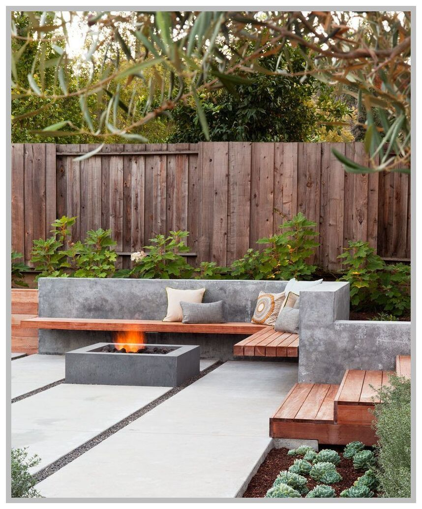 43 Reference Of Wood Bench On Concrete Wall In 2020 Modern Backyard Landscaping Backyard Seating Area Small Backyard Landscaping