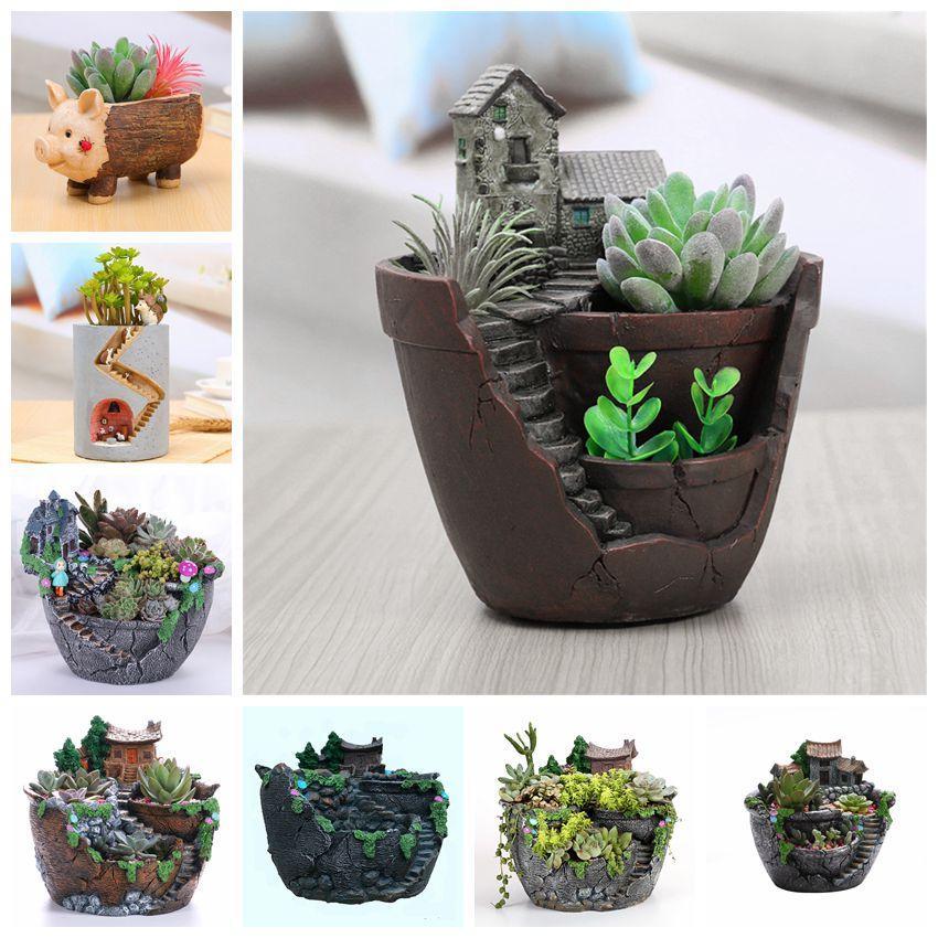 Creative Succulent Pot Flowerpot Resin Succulent Planter Home Mini Plant Holder