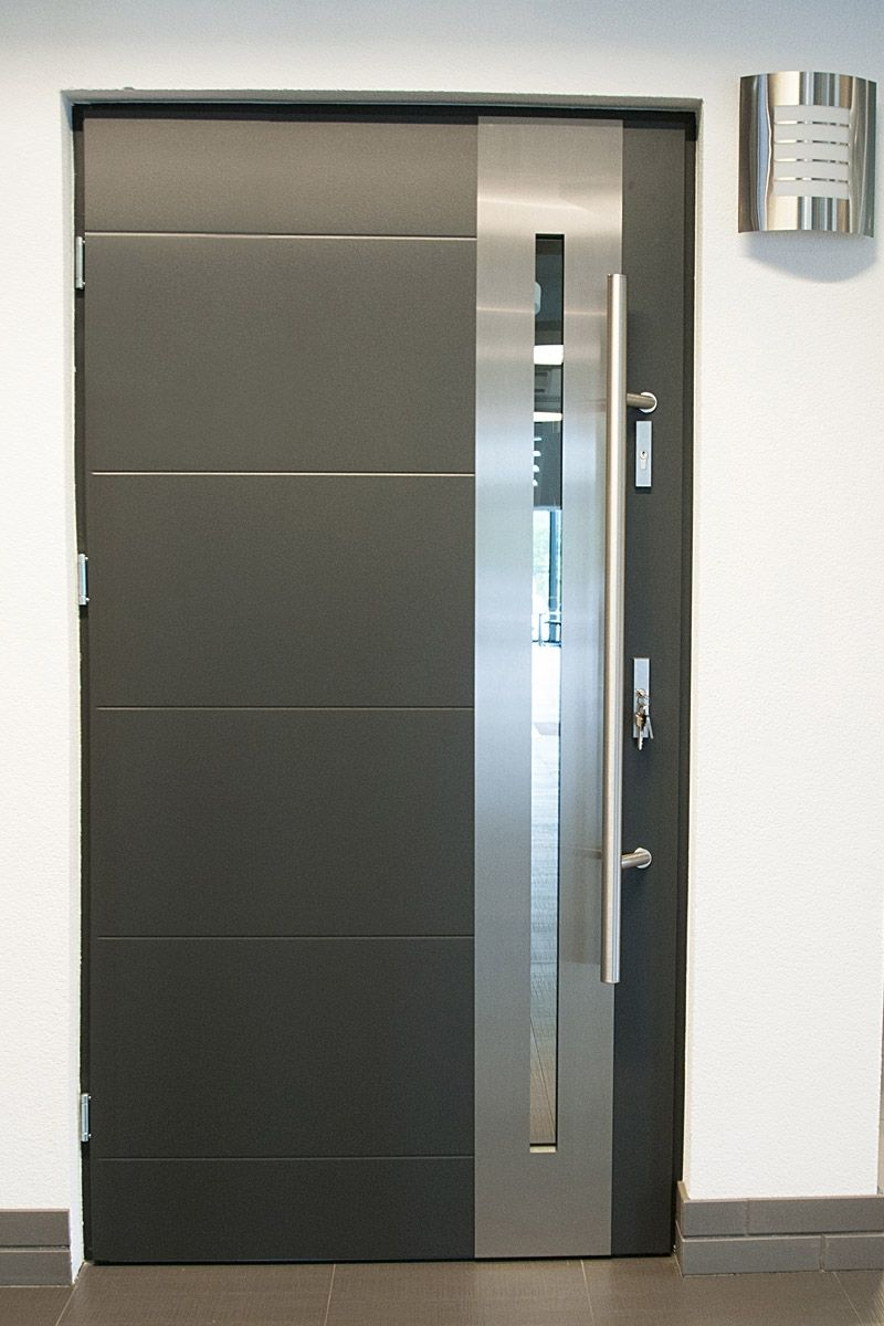 Modern exterior doors stainless steel modern entry door for Glass door in front of front door