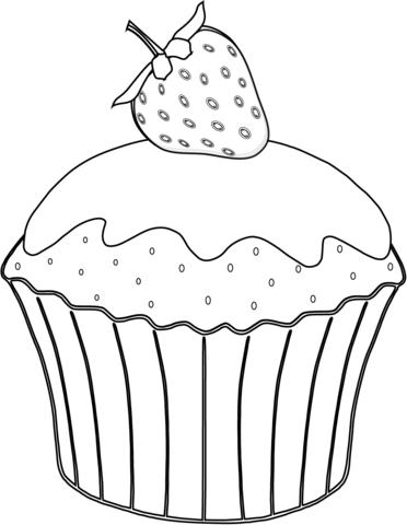 Muffin Mit Erdbeere Ausmalbild Ausmalbilder Lebensmittel