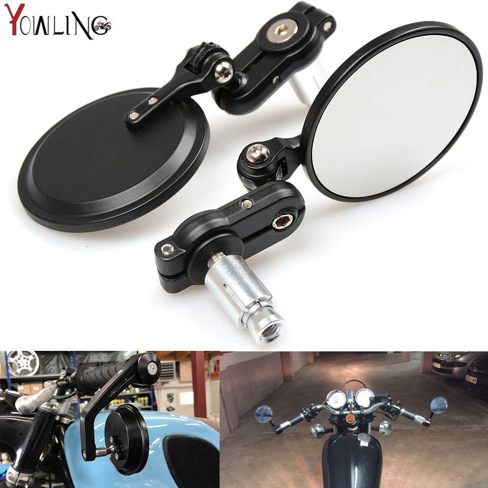 Universal Moto Bike Modified Retro Folding Motorcycle Mirror Black