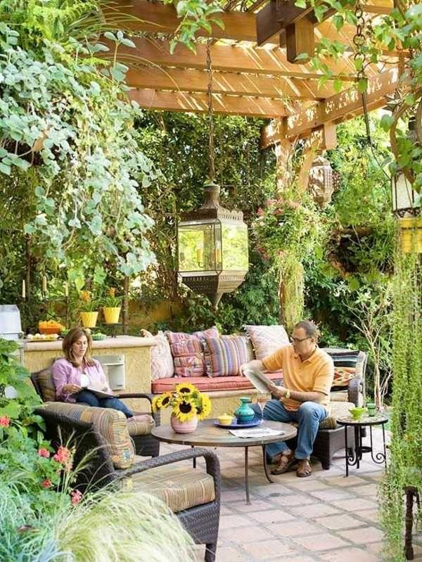 Exterior Garten Design Pergola Ideen Behagliche Sitzecke Pflanzen ... Pergola Mit Vorhangen Ideen Garten Deko