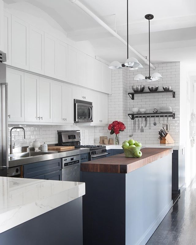 Long Narrow Kitchen With Island: High-Contrast Reigns King 👑 Click The Link In Bio To See