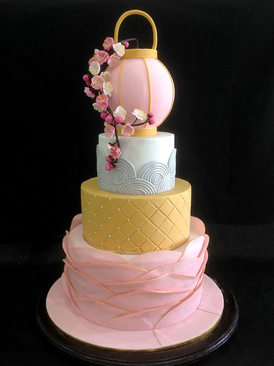 Tiered pink and gold oriental wedding cake with cherry blossoms and lantern #sakura // Top 10 Wedding Cake Creators in Malaysia - Part 1