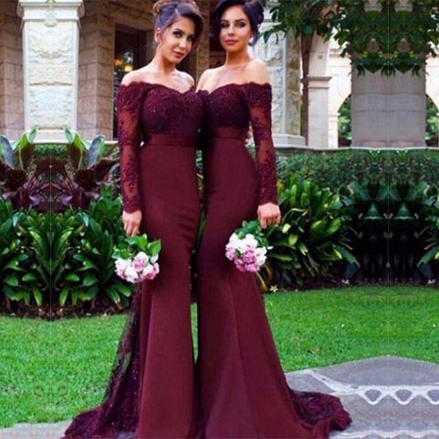 Vestidos para damas de honor color vino