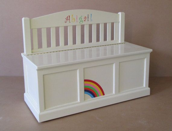 Wooden Toy Chest-Bench-Antique White-Rainbow | Banco antiguo ...
