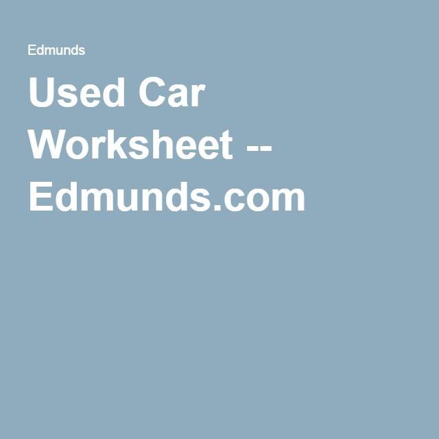 Used Car Worksheet Worksheets And Cars
