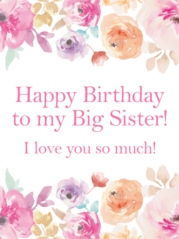 Pink flower happy birthday card for sister just take a look at this is a birthday card that is elegant without seeming too fancy for your older sisters birthday m4hsunfo