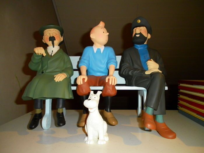 Hergé - Figurine Leblon-Delienne 45 + 46 + 47 + 48 - Tintin + Haddock + Tournesol + Milou + banc - (1991/1992)