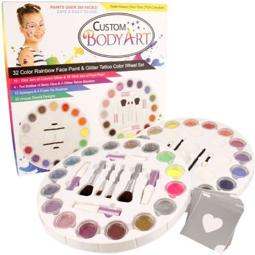 Custom Body Art 16 Color Rainbow Wheel Glitter Tattoo Set