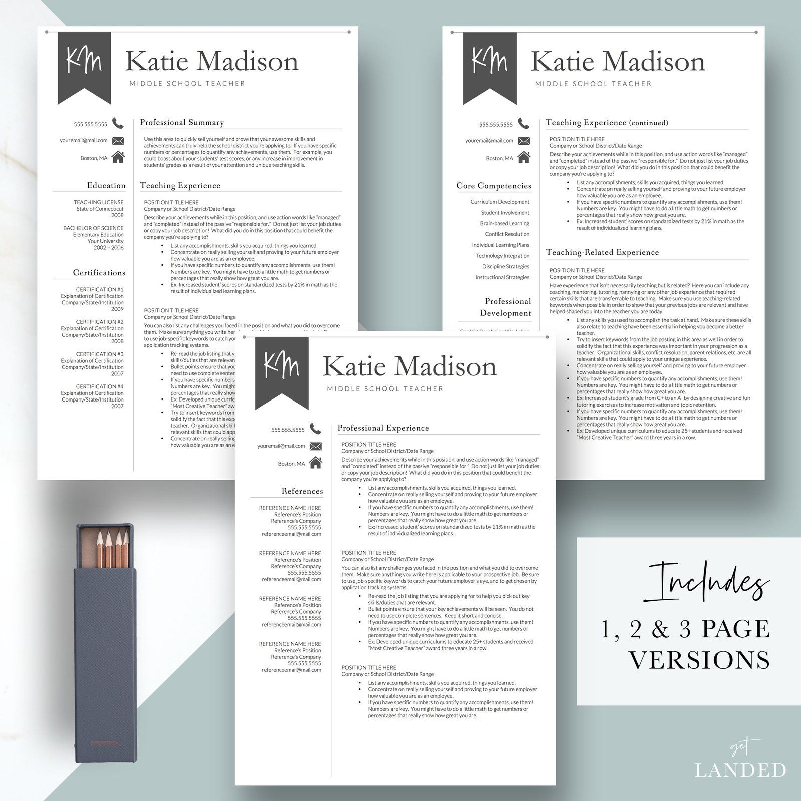 Educator teacher resume template for word pages the