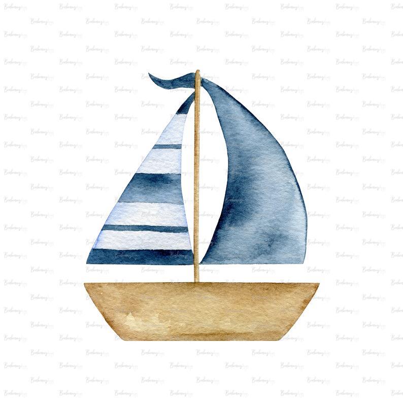 Watercolor Summer Sea Blue Boat Png Digital Download Etsy Watercolor Boat Boat Illustration Boat Art