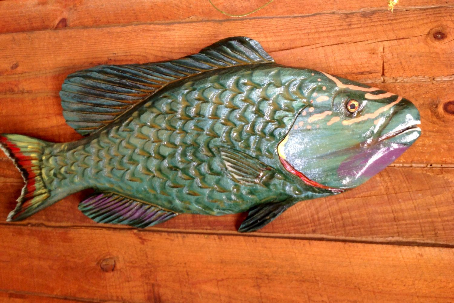 Parrotfish carving 36 wooden fish wall mount tropical decor beach bungalow chainsaw art exotic colorful