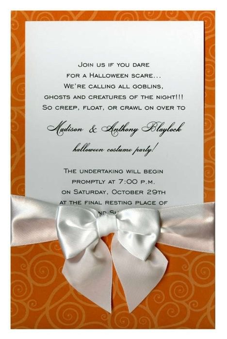 Orange Curly Q on Orange with White Bow #bow #ribbon #halloween #fall #autumn #party #event #invite #invitation #invitationbox #design #interesting #pinterest #scary #spooky