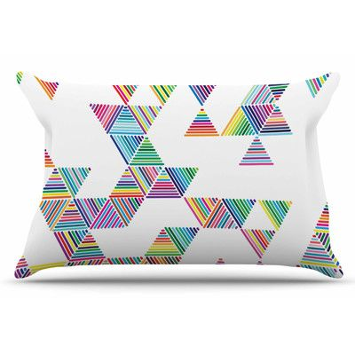 East Urban Home Rainbow Rain by Fimbis Pillow Sham Size: Standard
