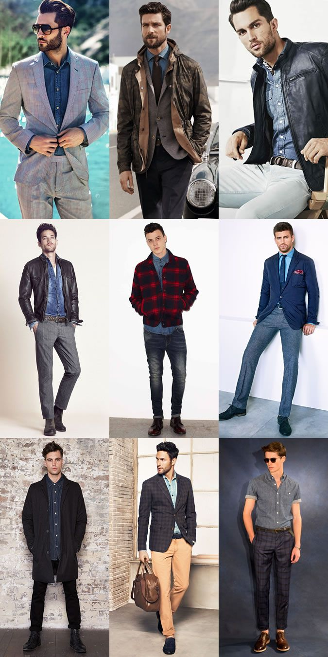 ed3bea45f713 Key Pieces For The Winter-Spring Season  The Denim Shirt Lookbook  Inspiration. Men s Denim Shirt Outfit ...
