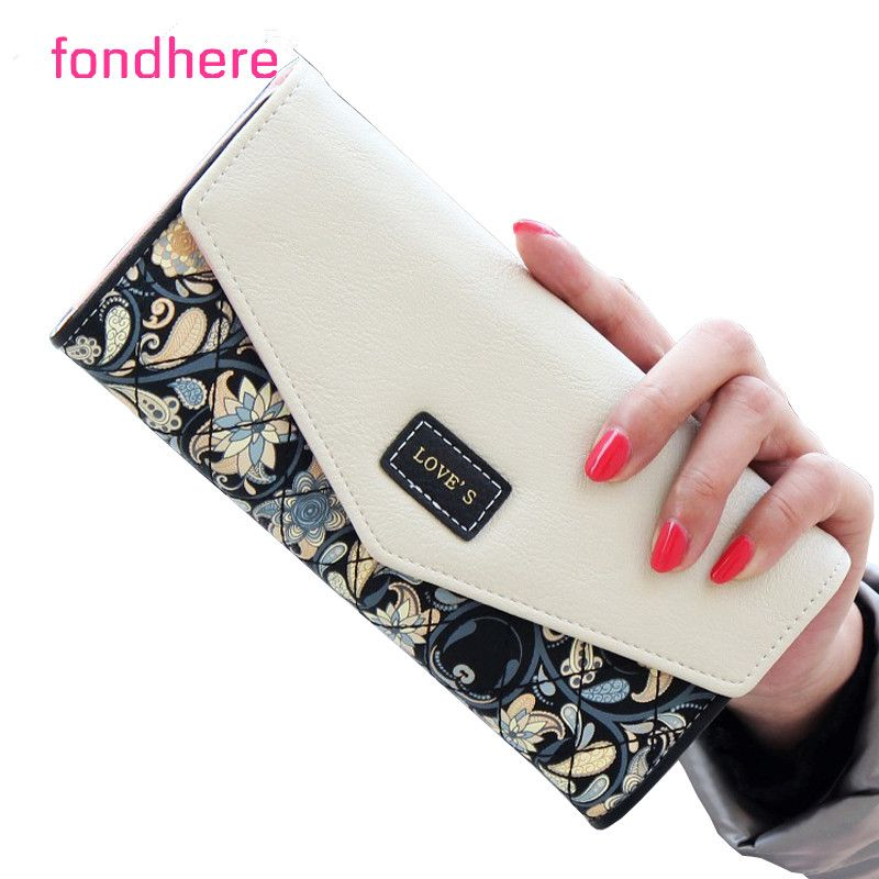 Fondhere Wallet Female Pu Leather 2017 Wallet Leisure Purse Colorful Style 3fold Flowers Printing Women Wallets Wallets For Women Purse For Teens Clutch Wallet
