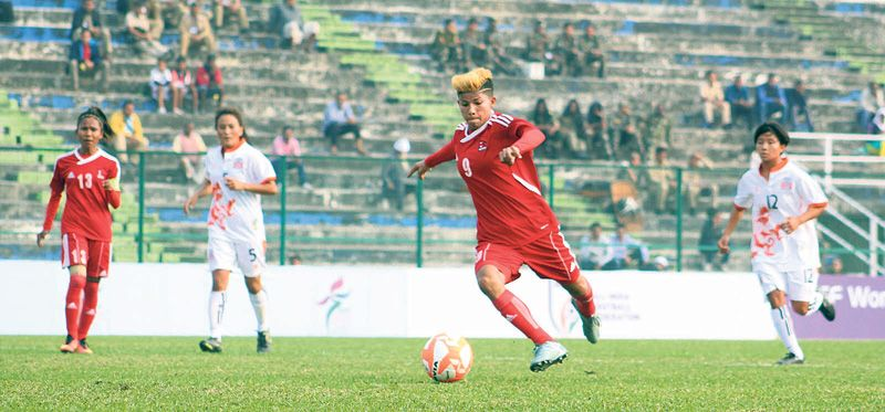4th SAFF womens championship Nepal beats Bhutan by 8 goals at Kanchanjunga Stadium yesterday   Nepals Sabitra Bhandari in action against Bhutan during the Fourth Womens SAFF Championship at Kanchenjunga Stadium in Siliguri India on Monday. Photo Courtesy: Anfa  Sabitra Bhandari starred for Nepal in the Fourth Womens SAFF Championship as it made a flying start with a thumping 8-0 win over Bhutan on Monday.  In the opening match of the championship played at Kanchenjunga Stadium Siliguri…