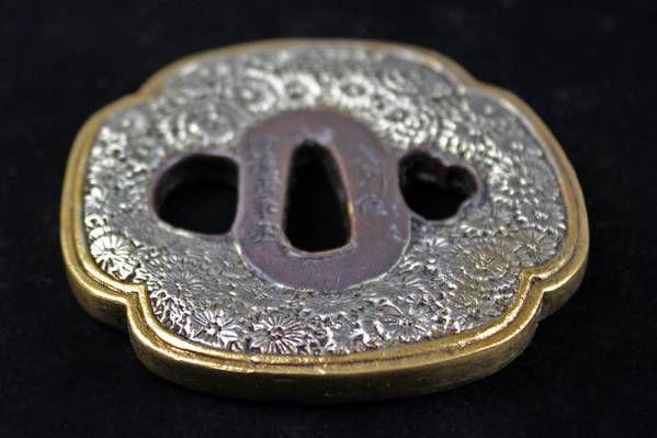 ◆海◆紫銅金銀鍍 刀鍔 縁頭 目貫 5點 刀装具 武具◆AS160◆_画像2