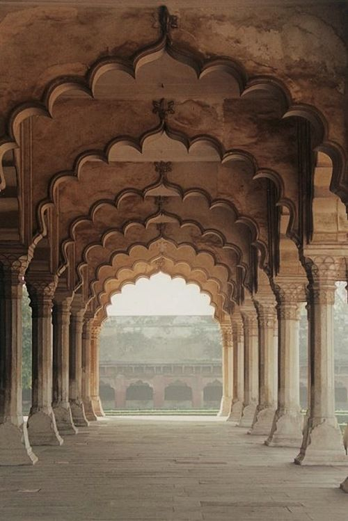 Arches inside the Red Fort of Agra, India.