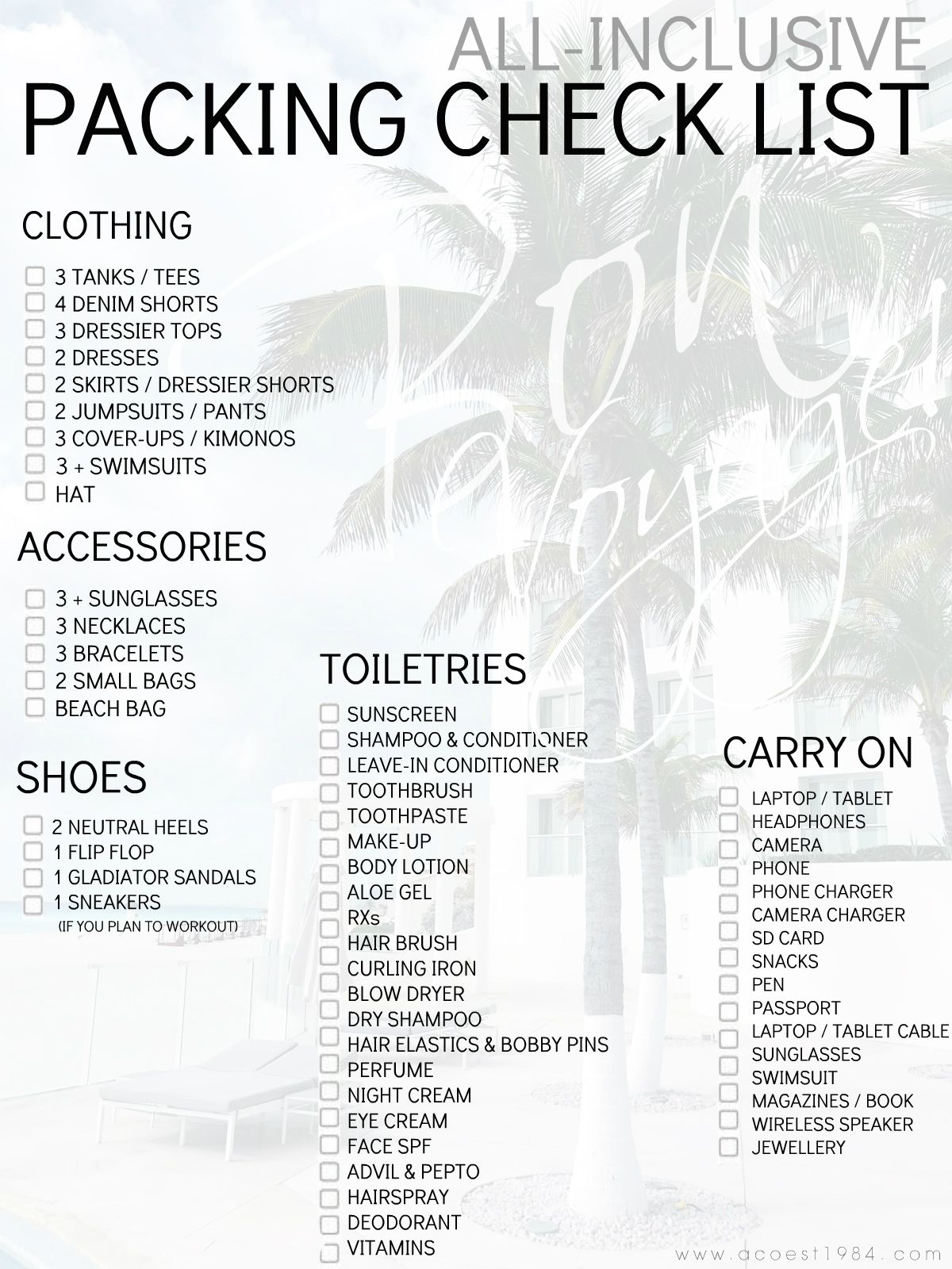 Printable Packing Checklist Wiring Diagram Database