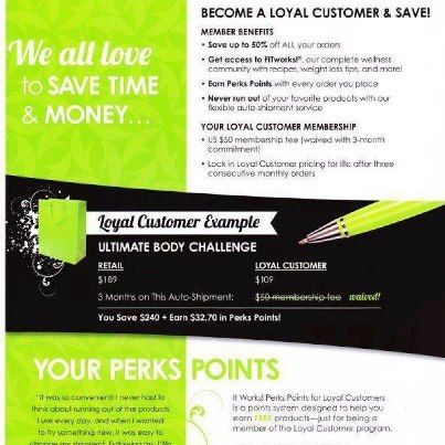 Save up to 40% and get Perks Points for free product! Take a look for yourself @ www.dslater19.itworksca.com