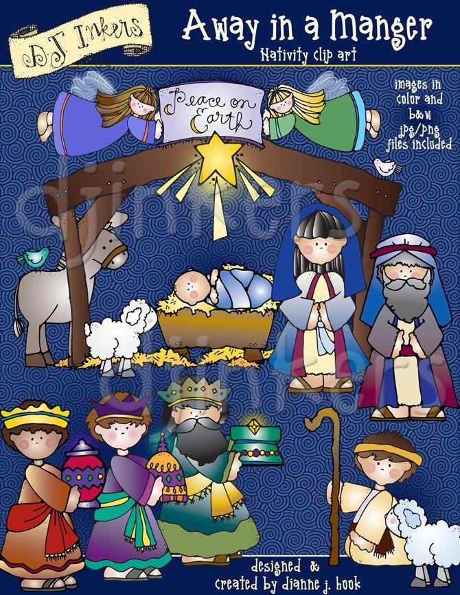 Away in a Manger, nativity clip art, Christmas clip art, baby jesus ...