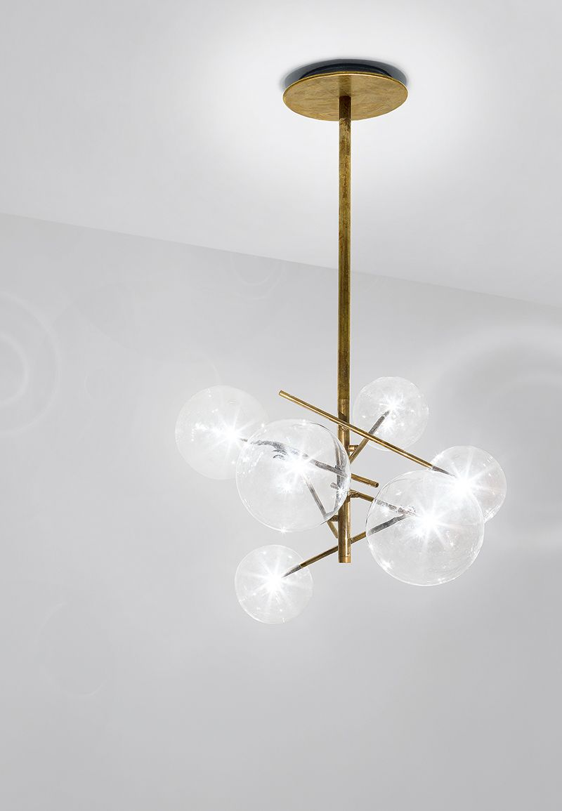 Hanging lamp with transparent blown glass balls metal parts