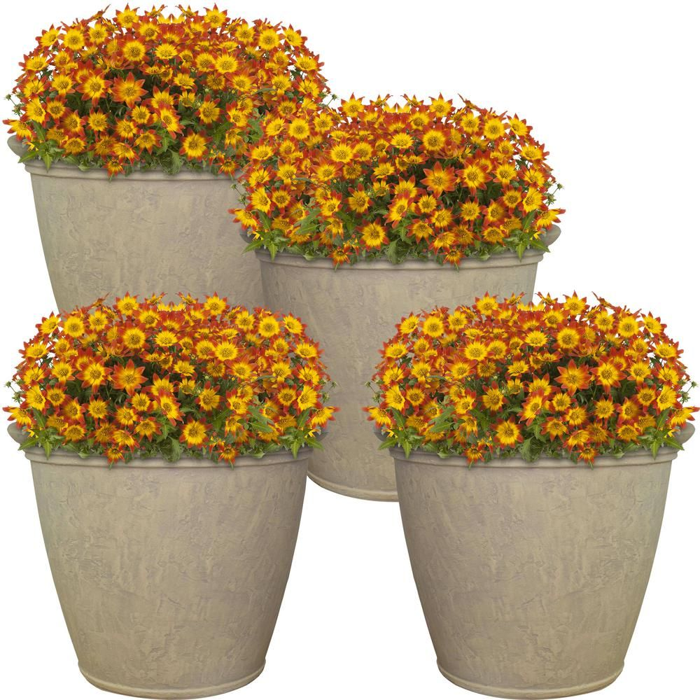 Sunnydaze Decor Anjelica 24 In Beige Poly Outdoor Flower Pot Planter 4 Pack Dg 964 The Home Depot In 2021 Flower Pots Outdoor Outdoor Flowers Flower Pots
