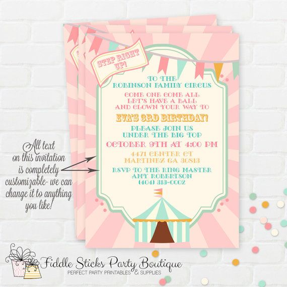vintage pastel circus invitation carnival by fiddlesticksboutique