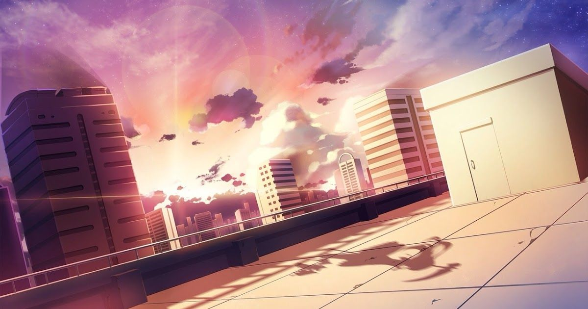 Wallpaper Sunlight Sunset Cityscape Night Anime Rooftop Wallpapers Wallpaper Cave Download 1680 In 2020 Anime Background Anime Backgrounds Wallpapers Meme Background