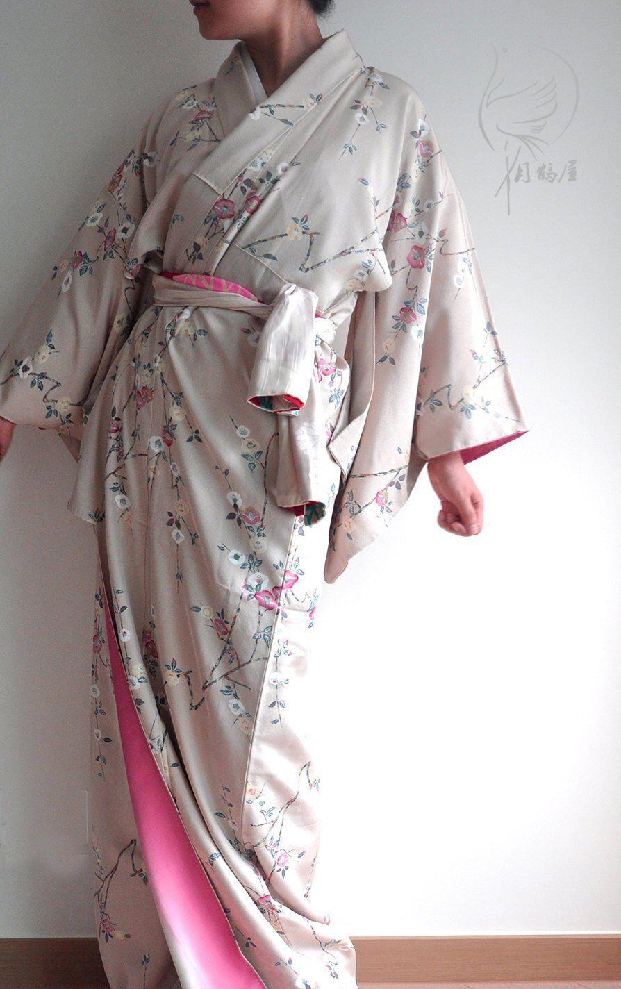 41f080270 Japanese silk long kimono robe, vintage floral tsubaki camellia women's  maxi kimono gown dress,