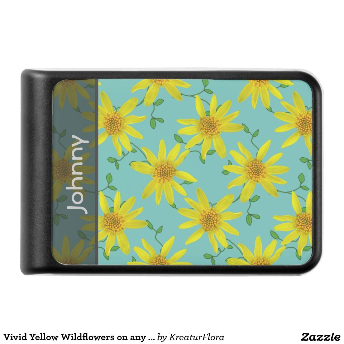 Vivid Yellow Wildflowers on any Color any Text Power Bank