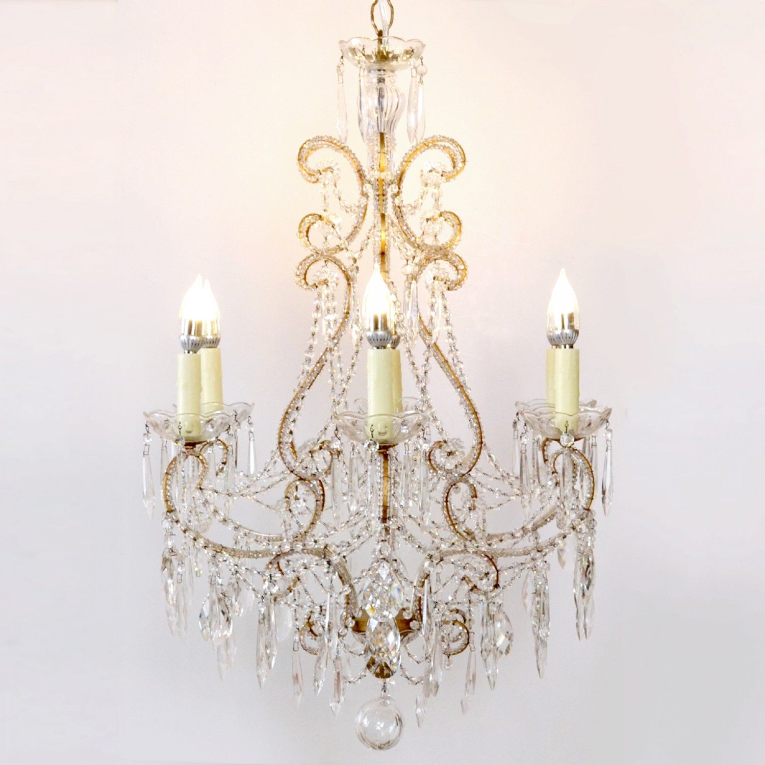 Italian Style Marie 6 Light Pink Crystals Beaded Chandelier