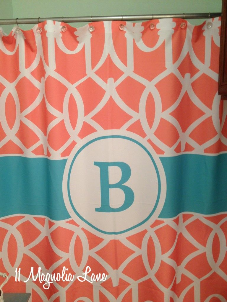 Turquoise And Coral Shower Curtain. Coral shower curtains Our New Home Girl s Bathroom in Aqua and  Monogram