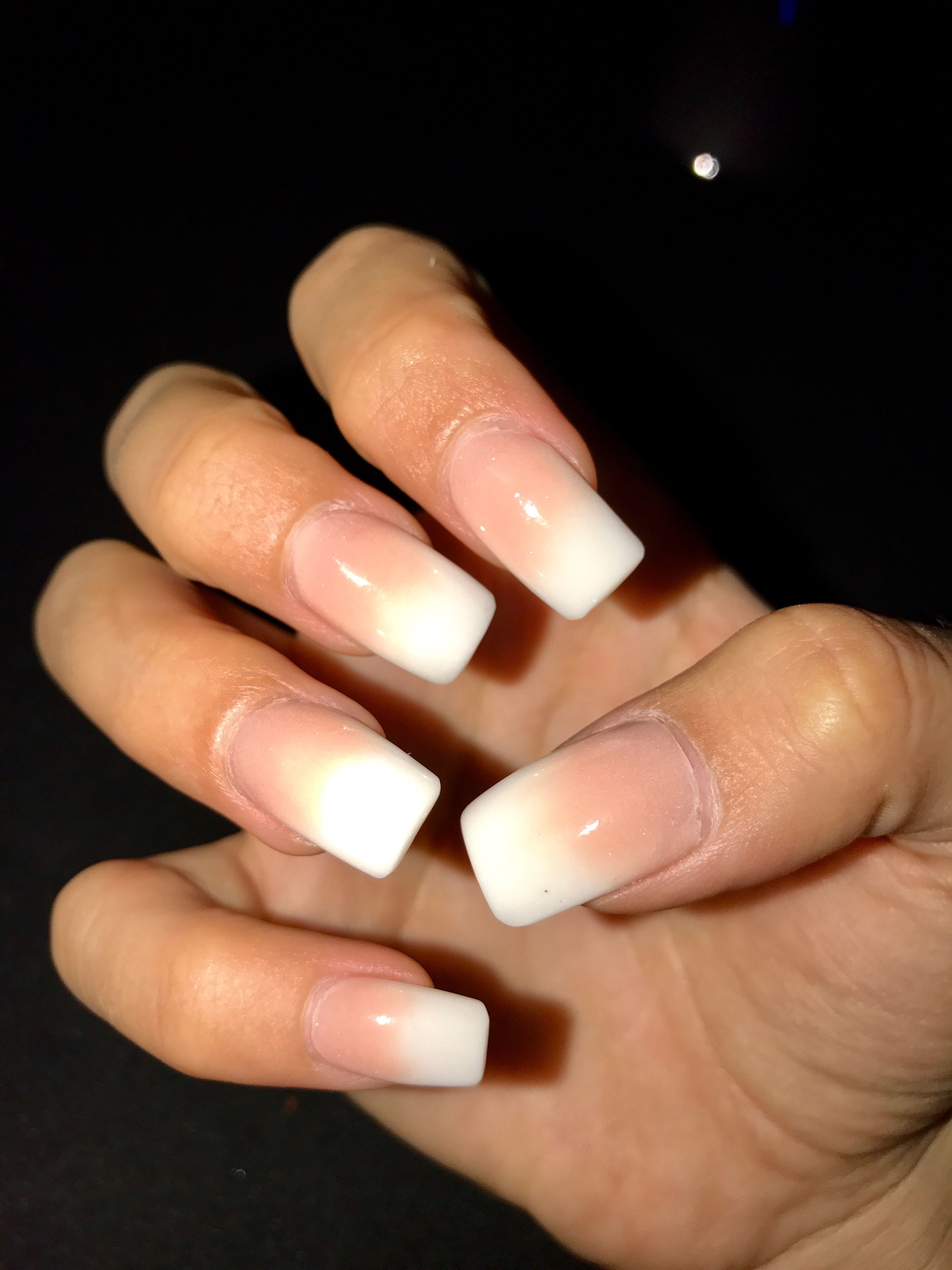 French fade white tip gel nails #ombre #acrylics #gelnails #nochip ...