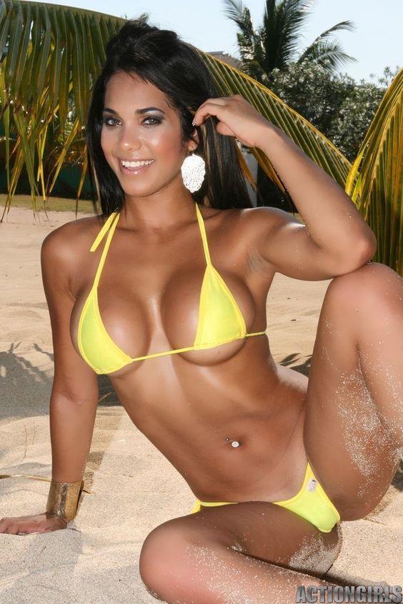 Beautiful latina woman wearing bikini stock photo
