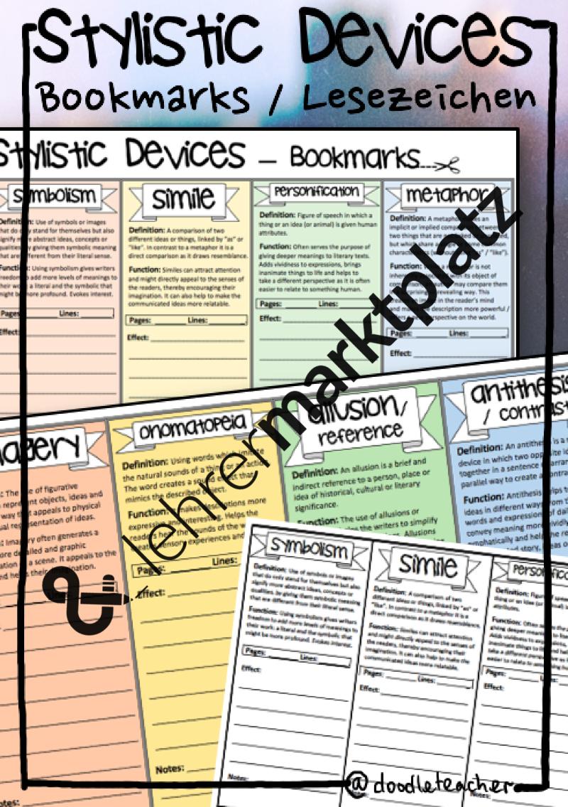 Stylistic Devices - Bookmarks / Lesezeichen | Inspiration ...