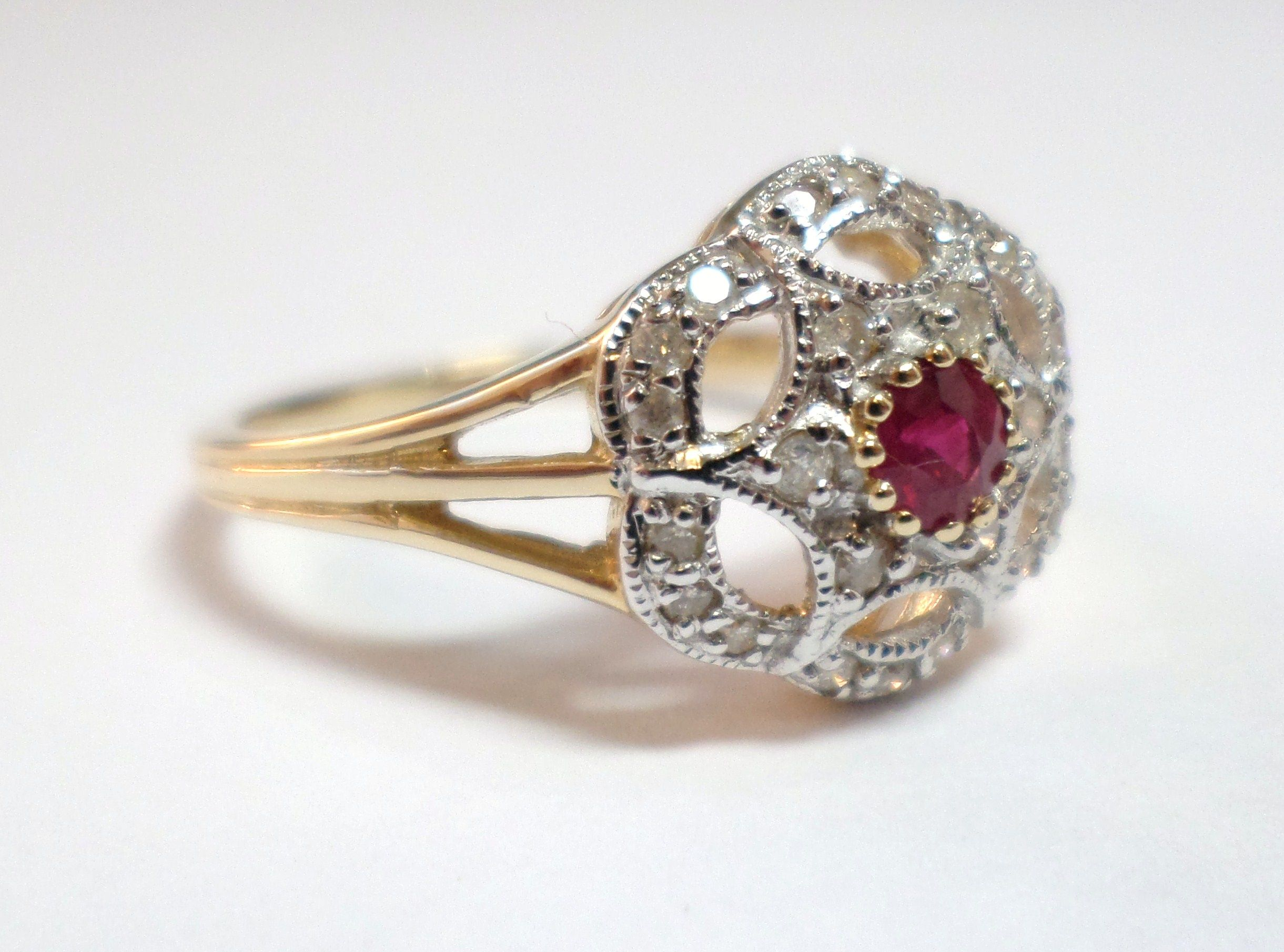 9ct Yellow Gold Ruby And 0 15ct Diamond Flower Daisy Cluster Ring 425 00 Vintage Antique Reproduction J Jewelry Birmingham Jewellery Quarter Jewellery Quarter