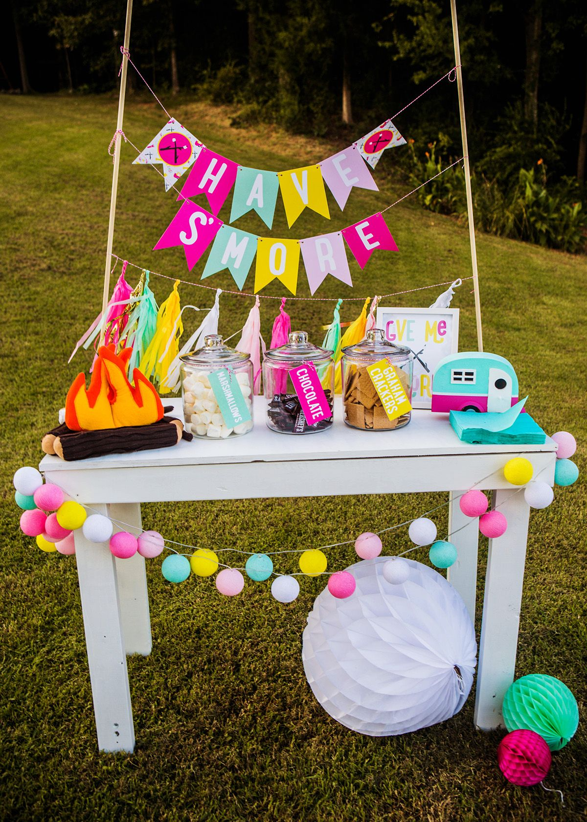 Camping Birthday, Bonfire, Bonfire Party, Summer Birthday, Smore Station,