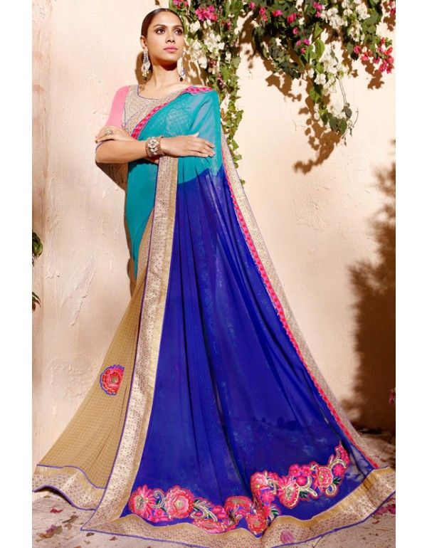 Beautiful Blue and Turquoise Shaded #Saree