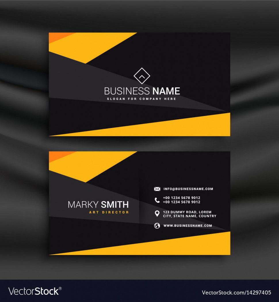 Yellow and black dark modern business card   Modern business cards ...