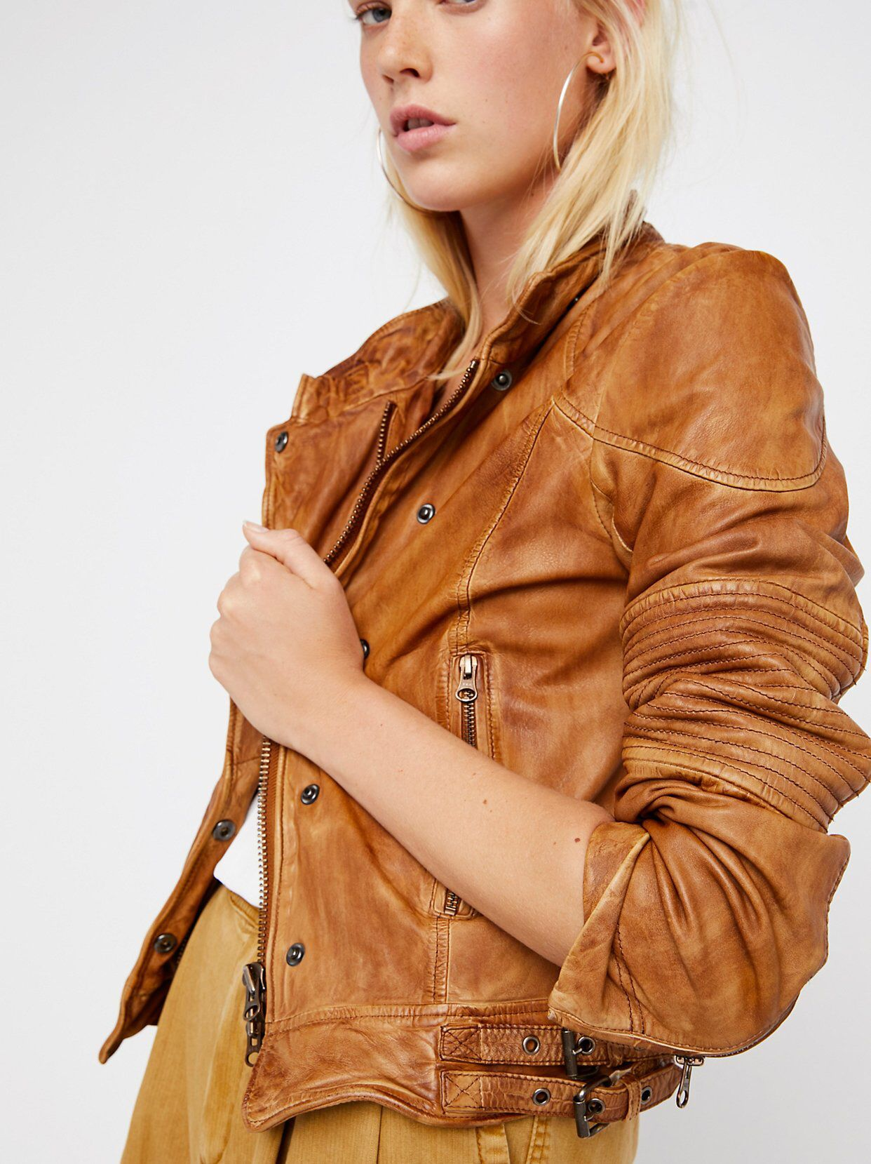 Fitted And Rugged Leather Jacket Free People Leather Jacket Leather Jacket Jackets