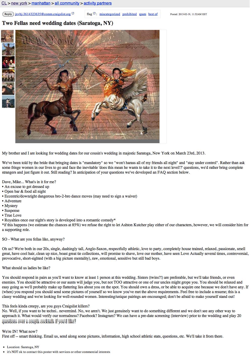 Brothers Seeking Wedding Dates Post Centaur Pic On Craigslist And Get Massive Response The Funny Pics Centaur