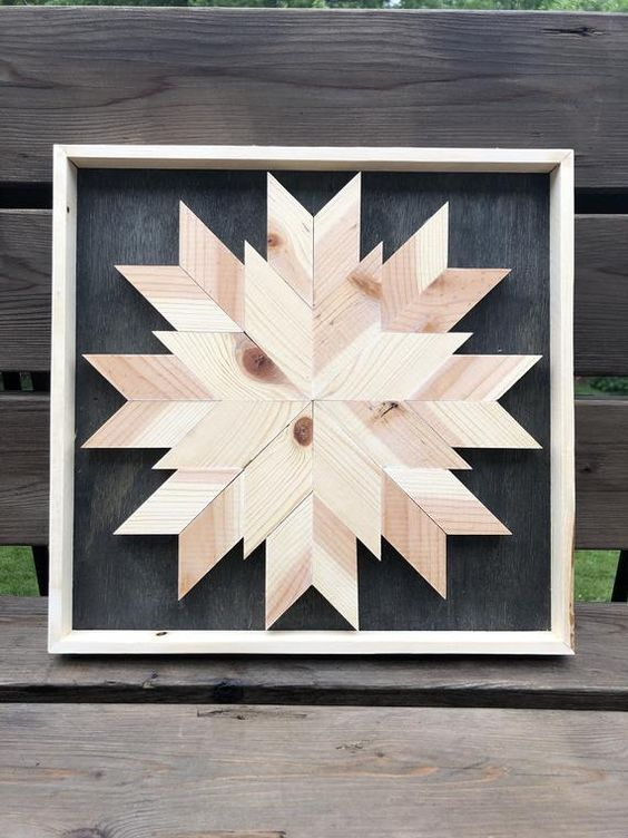 Recycled Wood Quilt Block Wall Art #starquiltblocks