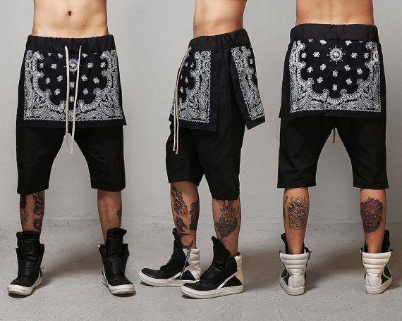 Bandana Layered Drop Crotch Shorts Black by fabrixquare on Etsy