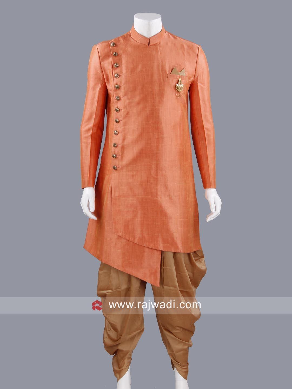 Dark peach color indo western with stylish broach rajwadi